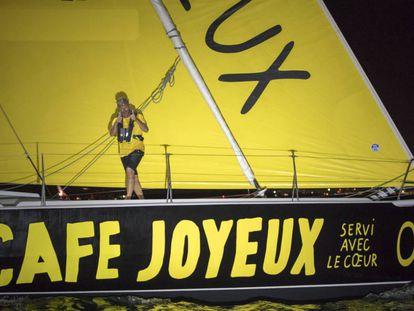 Sidney Gavignet, a bordo del 'Café Joyeus', a su llegada a Guadalupe.
