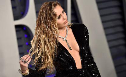 La cantante Miley Cyrus, en una de las fiestas tras los Oscar de este año.