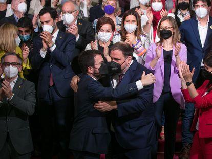El grupo parlamentario de ERC celebra, el pasado viernes, la elección de Pere Aragonès como president