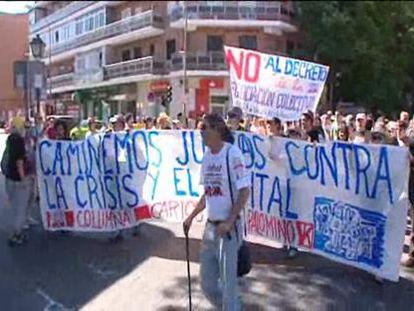 """La columna de Vallecas recoge a los """"indignados"""" del este de Madrid"""