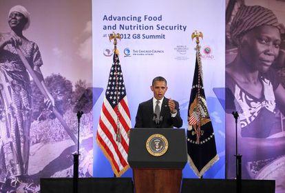 Obama al anunciar la inversión privada en seguridad alimentaria, en Washington