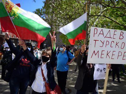 Protesta en Sofía después de que el presidente de Bulgaria, Rumen Radev, anunciara que disolverá el Parlamento.