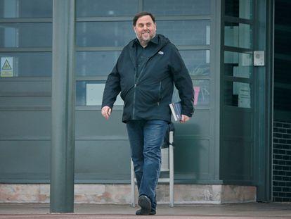 El exvicepresidente de la Generalitat Oriol Junqueras, en su primera salida temporal de prisión el pasado marzo
