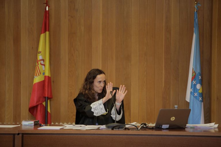La juez titular del Juzgado de Primera Instancia 1 de A Coruña, durante la tercera jornada del juicio por la reclamación del Estado de la propiedad del pazo de Meirás.