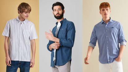 A la izquierda, camisa de rayas de Barbour; en el centro, modelo de Scalpers y, a la derecha, camisa de La Martina