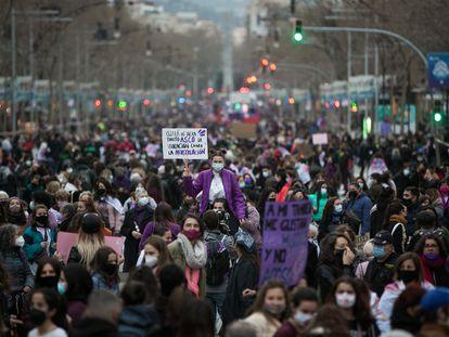 Manifestación feminista el 8 de marzo en Barcelona.