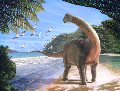 Reconstrucción de un titanosaurio que vivió hace unos 80 millones de años