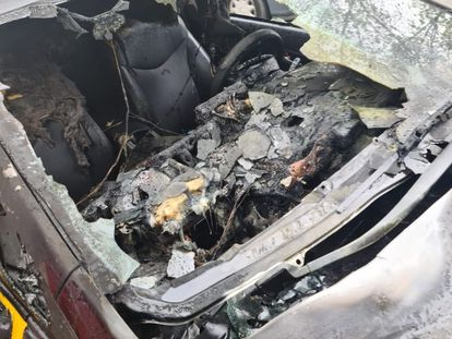 Incendio de un taxi en Badalona.