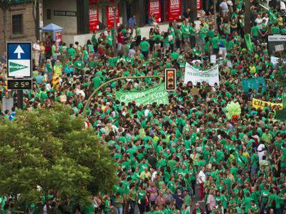 Marcha en Mallorca en apoyo a la huelga de docentes, la semana pasada.