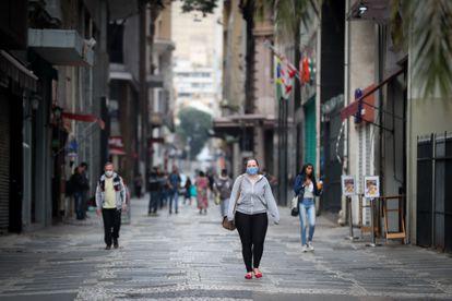 Una calle peatonal de São Paulo, el pasado viernes.