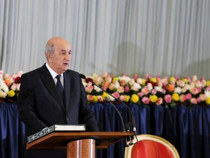 El presidente de Argelia, Abdelmayid Tebún, durante la ceremonia de asunción del cargo celebrada el 19 de diciembre de 2019 en Argel.