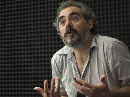 Raimundo Viejo, candidato a dirigir Podem, el martes en la sede del partido.