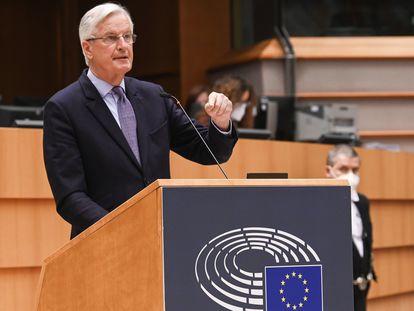 El negociador comunitario del Brexit, Michel Barnier, este martes en el Parlamento Europeo en Bruselas.