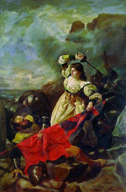 'María Pita cargando contra los ingleses' de Arturo Fernández Pita (1889).