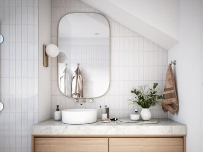 Los colores claros, los espejos y las mamparas de cristal ayudan a crear sensación de amplitud en espacios reducidos. GETTY IMAGES.
