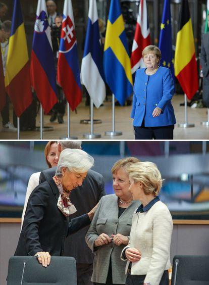 Angela Merkel, durante la cumbre europea en Bruselas de diciembre de 2019. Abajo, conversando con la presidenta del Banco Central Europeo, Christine Lagarde, y la presidenta de la Comisión Europea, Ursula von der Leyen. <b>Pulse en la imagen para visitar la fotogalería sobre el legado de la canciller alemana</b>.