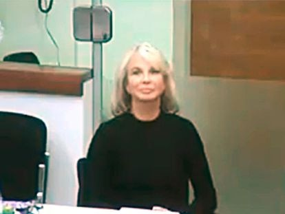 Corinna Larsen, durante su declaración ante el juez por videoconferencia desde Londres el pasado enero.