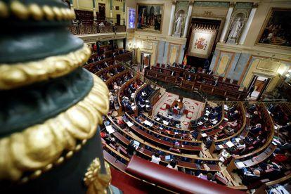 Vista del hemiciclo del Congreso de los Diputados en Madrid.