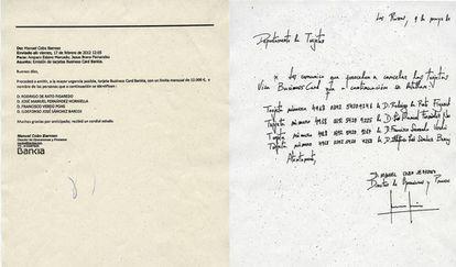 El documento de creación y el de baja de las nuevas 'tarjetas black' que creó Rodrigo Rato en Bankia