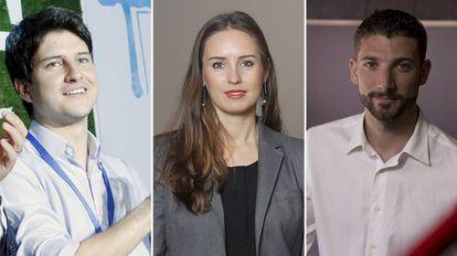 De izquierda a derecha, el líder de Nuevas Generaciones ,Diego Gago, la secretaria de Juventud de Ciudadanos, Melisa Rodríguez y el presidente de Juventudes Socialistas, Omar Anguita.