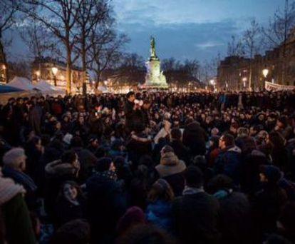 Los indignados de París, anoche.