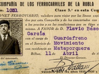 Carnet ferroviario de Flavio Báscones García en 1936.