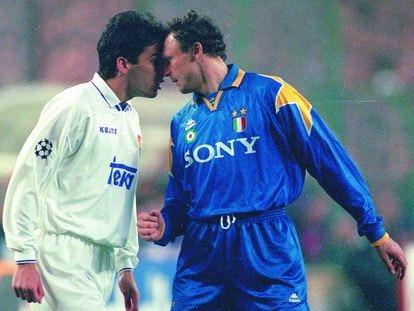 Raúl y Vierchowod se retan en el Real Madrid-Juventus de Champions de 1996.