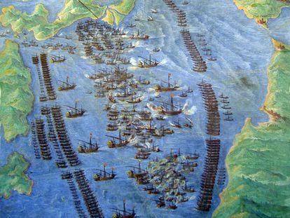 Fresco que representa la Batalla de Lepanto. Fecha desconocida. Museo Storico Navale.