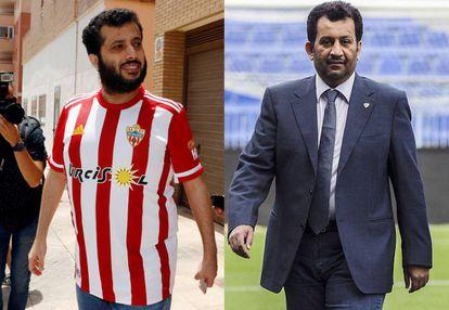Al Sheik, con la camiseta del Almería tras comprar el club el viernes. A la derecha, Al Thani en La Rosaleda.
