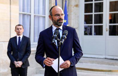 Rueda de prensa del primer ministro francés Edouard Philippeen el Hotel Matignon de París el 29 de mayo