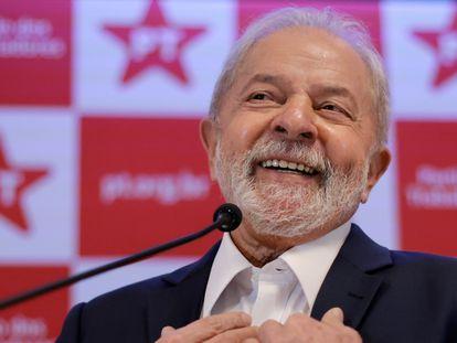 El expresidente brasileño Lula da Silva, el pasado día 8 en una conferencia de prensa en Brasilia.