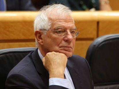 El ministro de Exteriores Josep Borrell, el martes, en la Sesión de control al Gobierno en el Senado