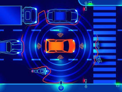 Ilustración del sistema de detección de un vehículo autónomo.
