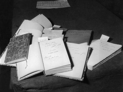 Conjunto de manuscritos de André GIde, en una subasta de 1959 en París.