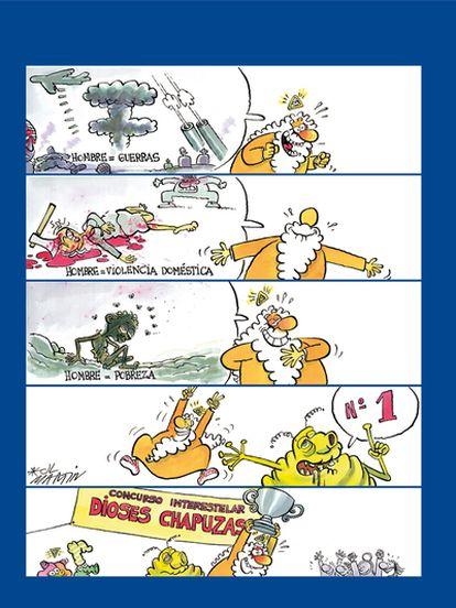 Una fundación del Ministerio de Justicia patrocina 'La sonrisa divina'. Una de las viñetas de la serie <i>¡Dios mío!</i>, del humorista gráfico José Luis Martín.