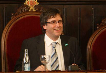 Carles Puigdemont, durante su etapa como alcalde de Girona.