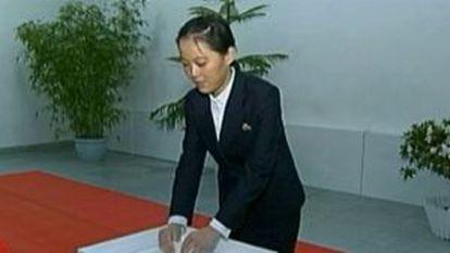 La hermana pequeña de Kim jong-un, Kim Yo-jong, en una imagen aparecida en la televisión china.