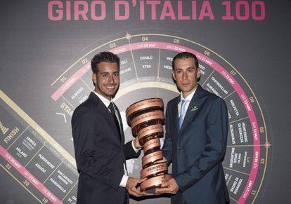 Fabio Aru y Vincenzo Nibali, en la presentación