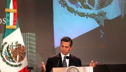 Peña Nieto, en un acto público este lunes.