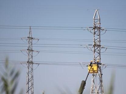Varios operarios trabajan en un tendido eléctrico, en las afueras de Sevilla.