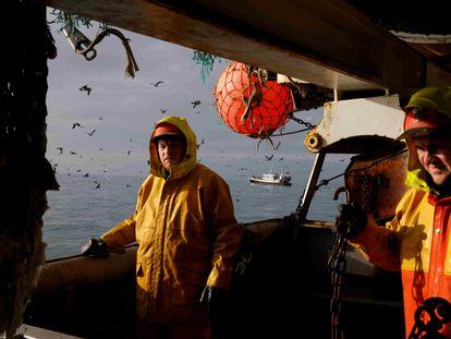 Pescadores franceses en el mar del Norte, el pasado 8 de diciembre.