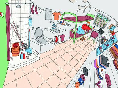 Ilustración para el reportaje '7 metros cuadrados' en el que una redactora (una presa) cuenta cómo es su celda.