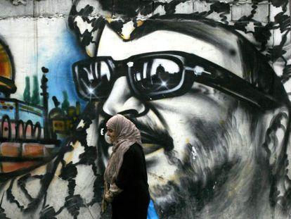 Un grafiti de Arafat en un campo de refugiados palestinos en Líbano este martes.