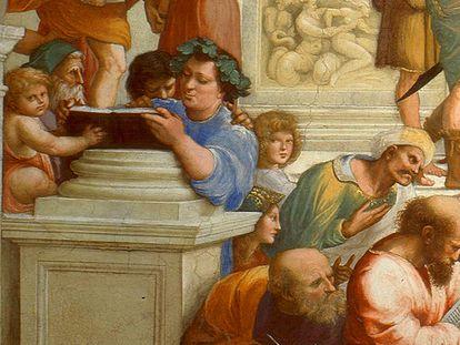 Epicuro, en un fragmento del cuadro 'La escuela de Atenas', de Rafael.