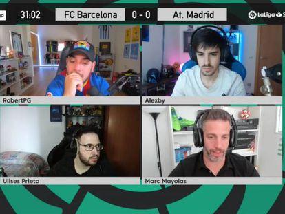 El FC Barcelona-Atlético de Madrid del pasado sábado retransmitido en LaLigaCasters. Así se ve un partido en el canal de Twitch de LaLiga.
