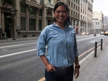 Czarina Musni en Barcelona, donde se encuentra acogida por el programa catalán de protección a Defensores y defensoras Derechos Humanos.