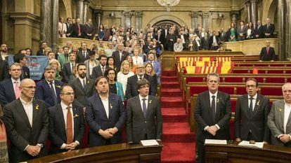 El Parlamento de Cataluña el 27 de octubre de 2017 después de aprobar la frustrada declaración de independencia.