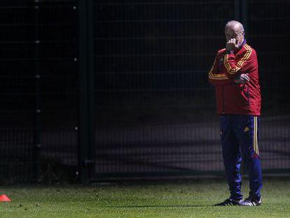 Del Bosque, durante el entrenamiento de ayer.