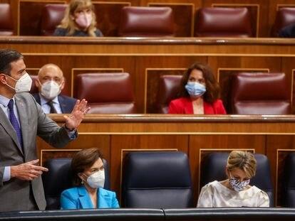 El presidente del Gobierno, Pedro Sánchez, interviene durante una Sesión de Control en el Congreso de los Diputados, el pasado 12 de mayo, en Madrid.