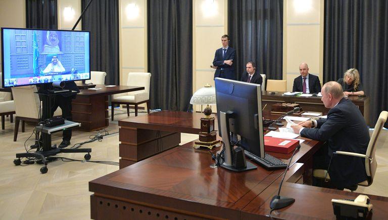 El presidente ruso, Vladímir Putin, durante la videoconferencia del G20 convocada el jueves para abordar la crisis del coronavirus.